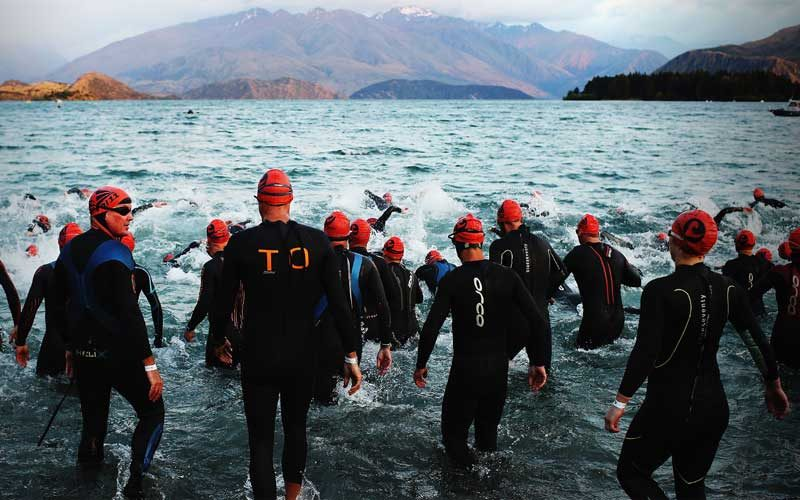 Athletes enter the water at Challenge Penticton