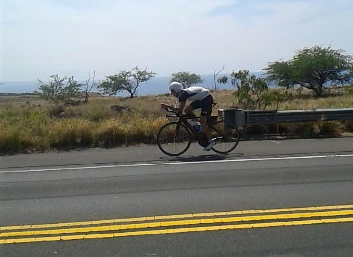 Triathlete in bike training on Kona race week