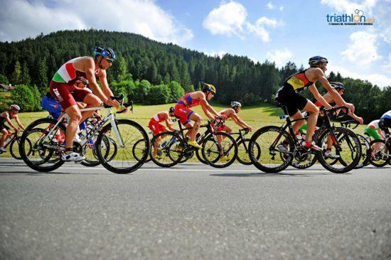 Athletes biking in Kitzbühel