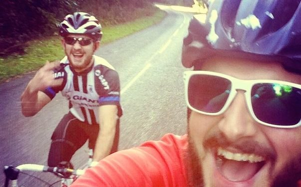 Martyn and Jake on a training ride