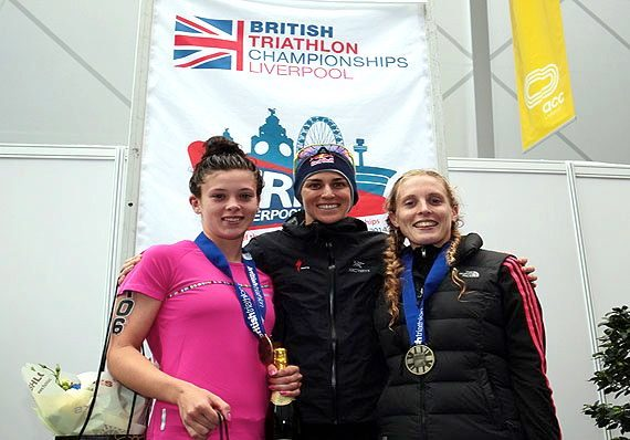 Elite women's podium at Tri Liverpool 2014