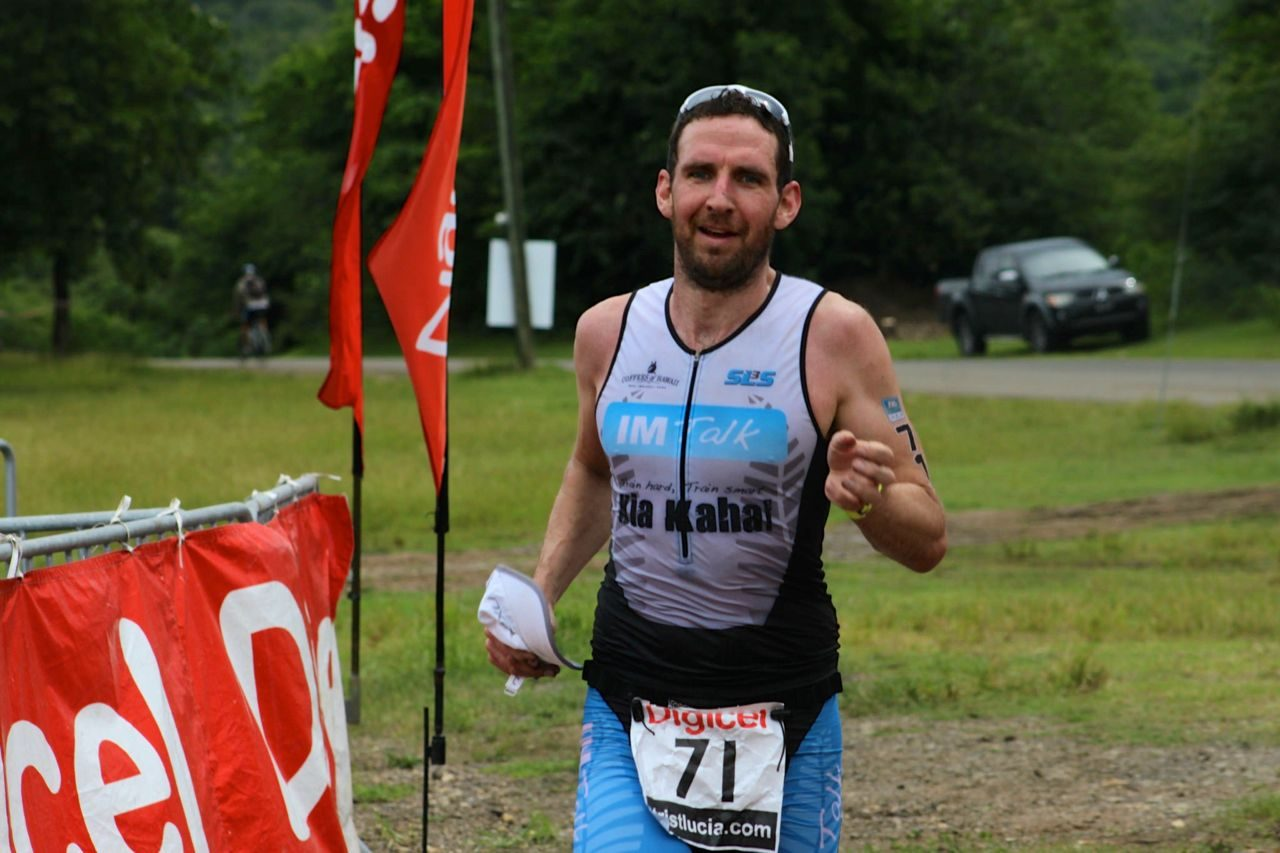 Tim Heming finishes the Tri St Lucia