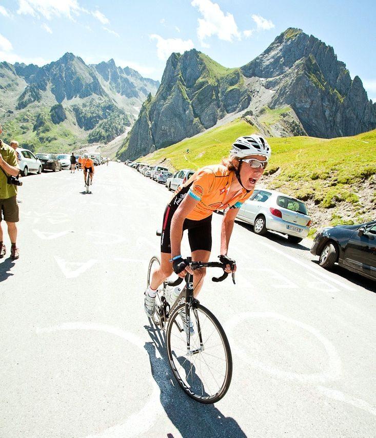 Chrissie on the bike at Trois Etapes 2014