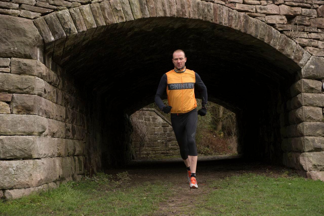 Triathlete in run training