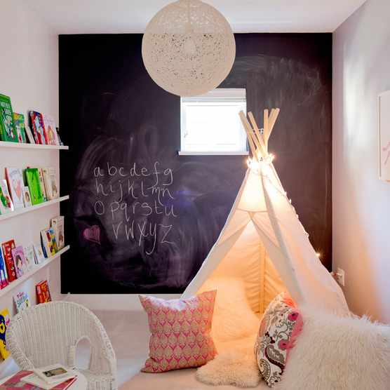Children's bedroom with chalk wall