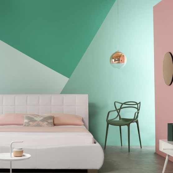 Graphic colour bedroom wall