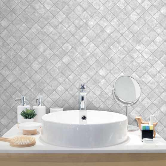 Grey grout-free bathroom wallpaper tile-effect