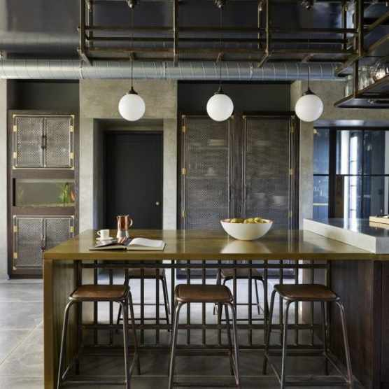 Industrial kitchen breakfast bar and bar stools