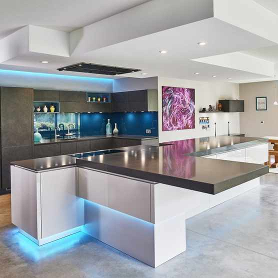 Kitchen plinth island and modern strip lighting