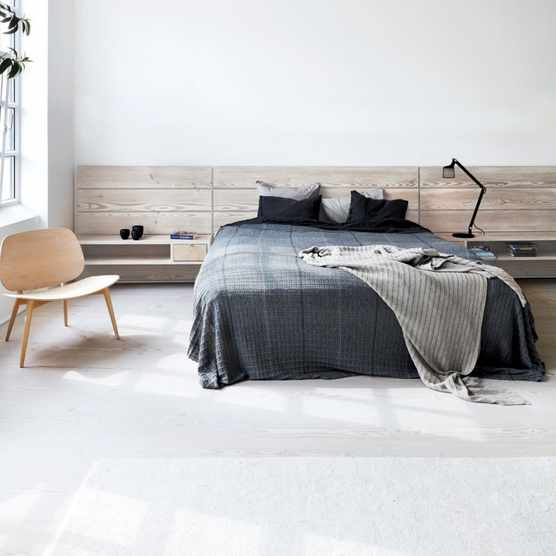 Minimalist Scandinavian design bedroom in neutral shades