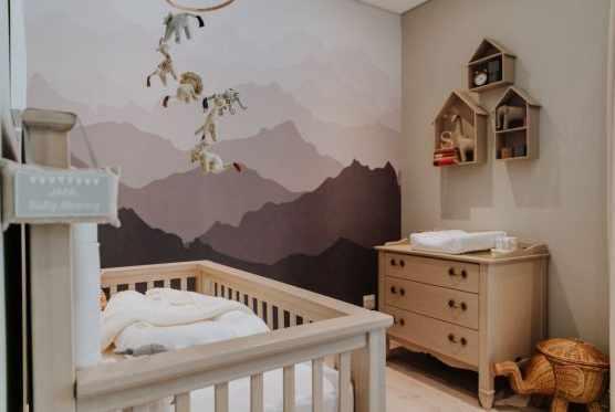 Mountain range children's nursery wall mural
