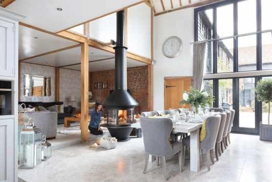 Open plan barn conversion kitchen diner