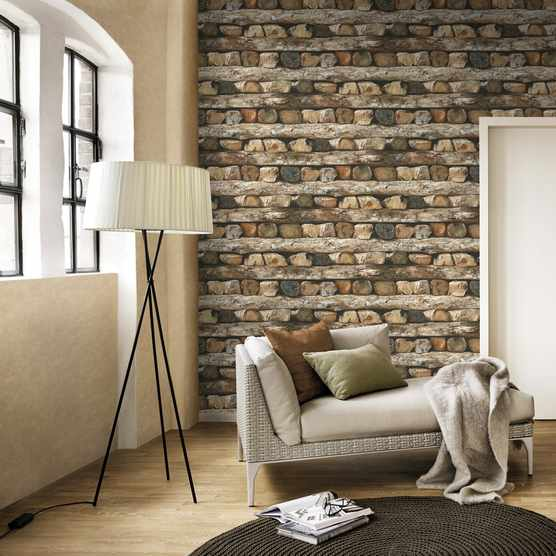 Timber log effect feature wallpaper