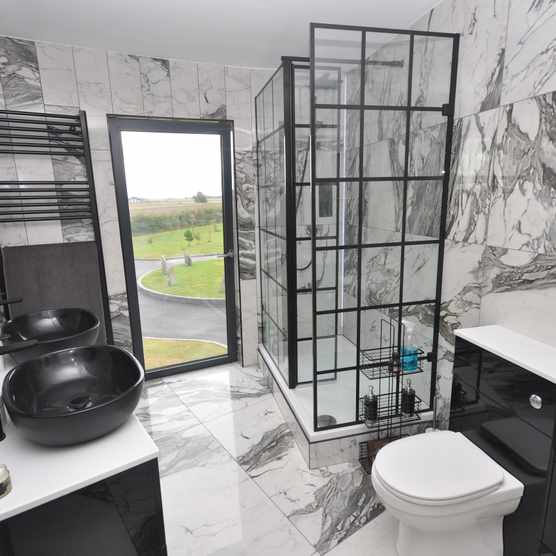 Liberty Black Grid Wetroom Panel and Shower Tray