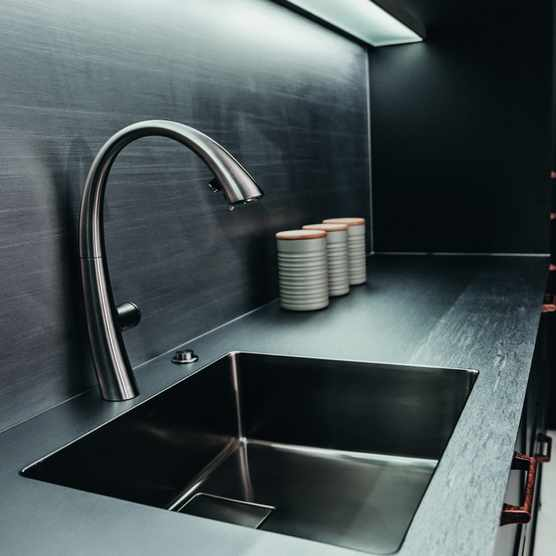 KWC Zoe sink and Zoe Touch Light Pro tap with Franke Puresteel 4mm stainless steel worksurface and splashback. copy
