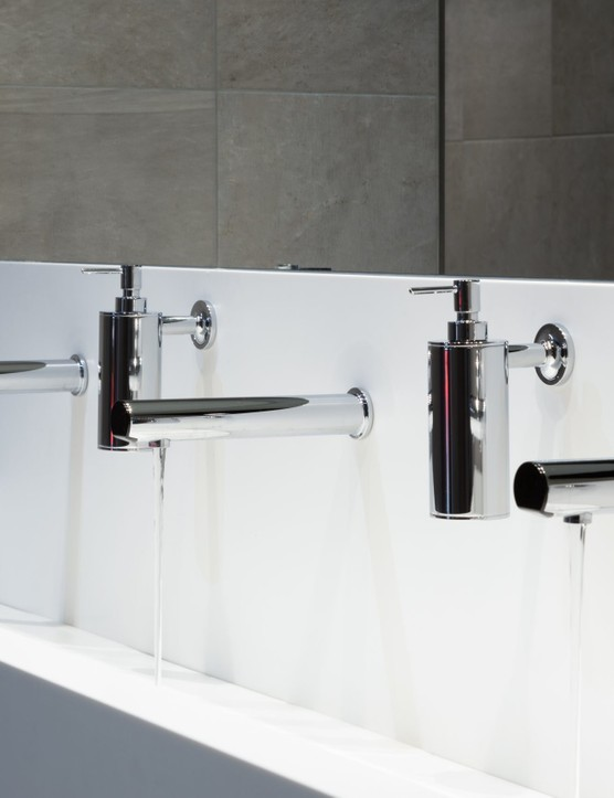 Rada Outlook 190mm spouts and sensors and Kohler Purist wall-mounted soap dispensers