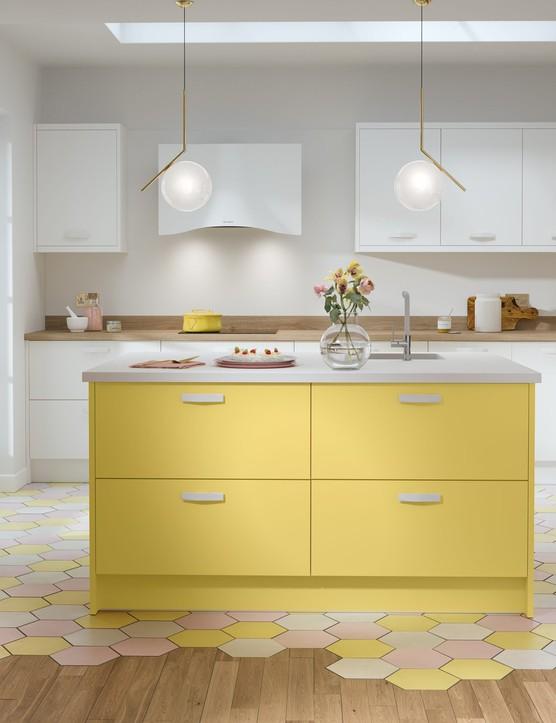 Wren Kitchens - Contour Ermine Lemon Curd Matt