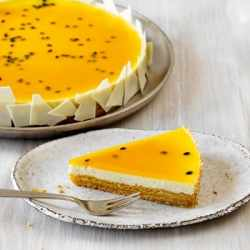 American cheesecake with passion fruit