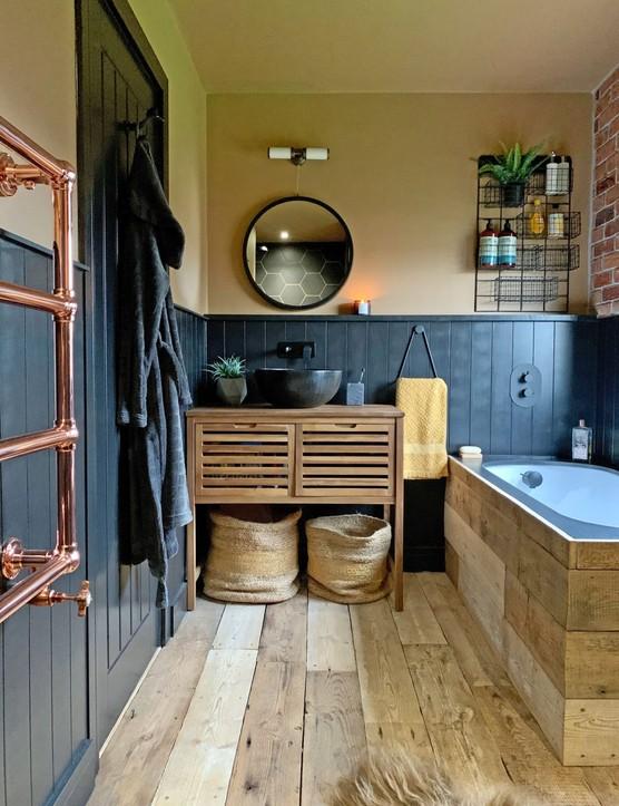 Rustic scandi-style bathroom