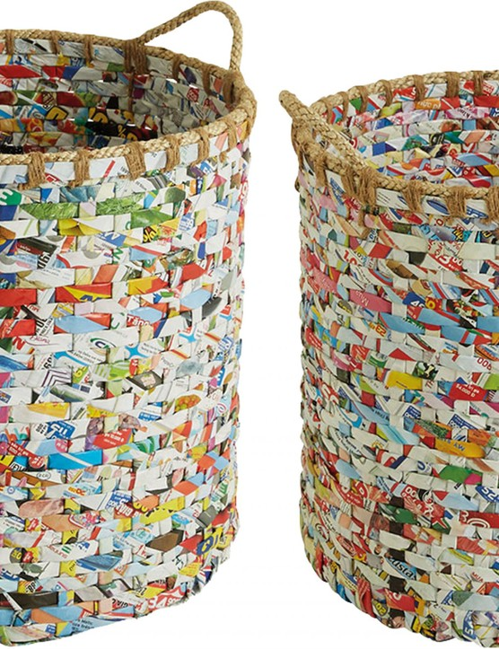 Cohen multi-coloured recycled magazine round storage baskets, £40 for a set of two, Habitat