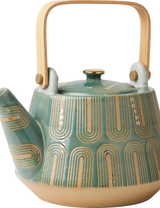 Try a mix of textures with this metallic detail teapot with a square wooden handle. £34 from Oliver Bonas