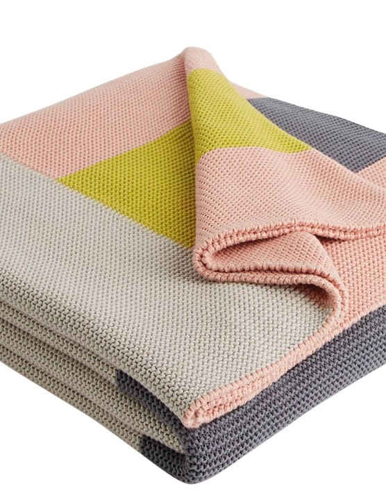 Penelope pink and grey throw, £70, Habitat