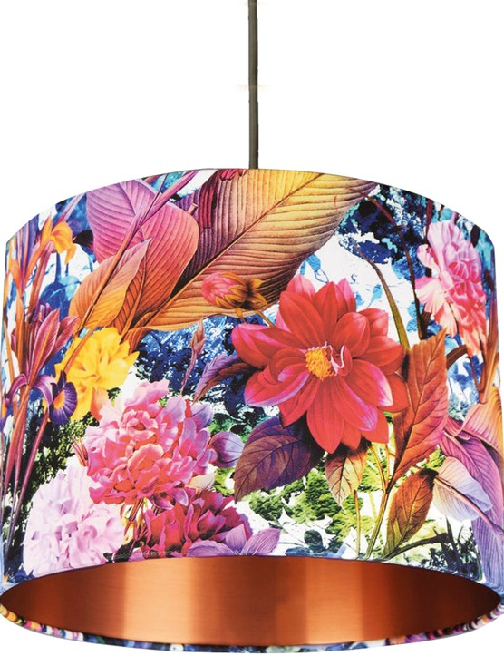 Blooming flowers lampshade with brushed copper lining, £50, Mint & May