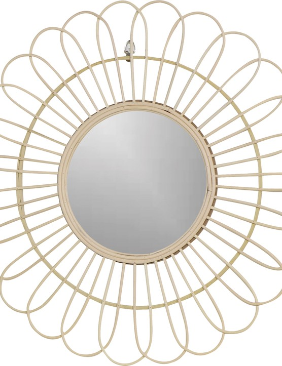 Round natural rattan flower wall mirror, £19.95, Melody Maison