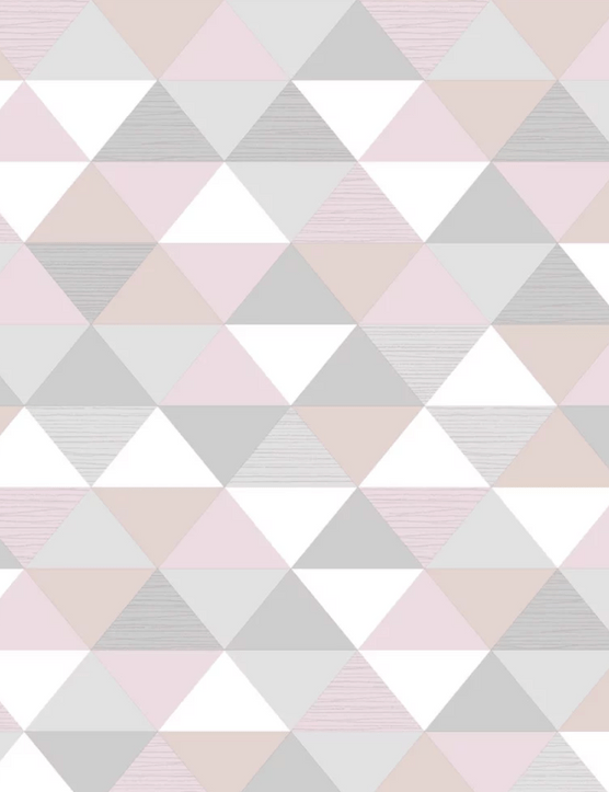 Geo Triangles Blush wallpaper, 10m roll, Wilko, £13