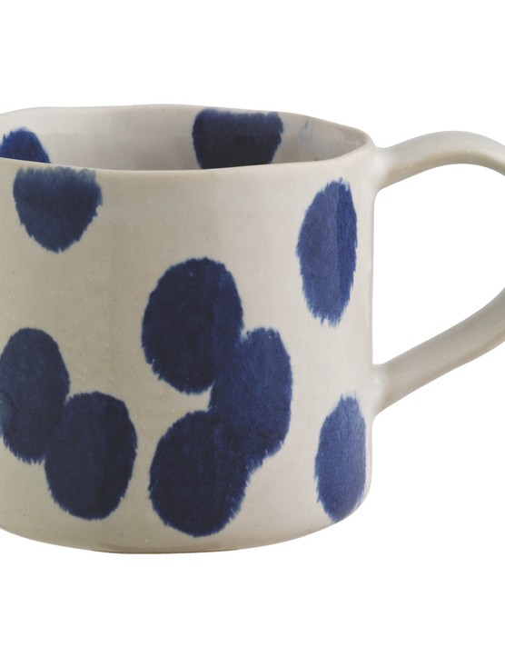 Habitat spotty blue and white mug
