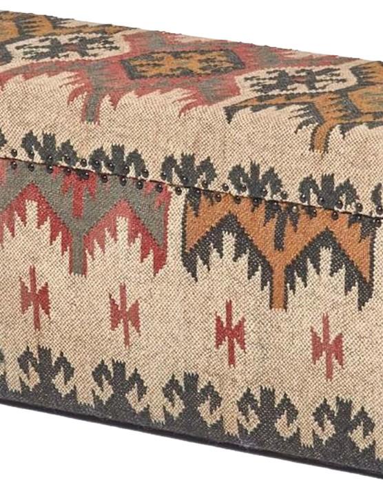 Kilim upholstered ottoman, £309.99, Homescapes Online