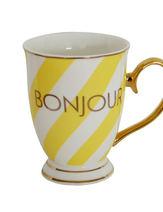 Stripy yellow and white mug