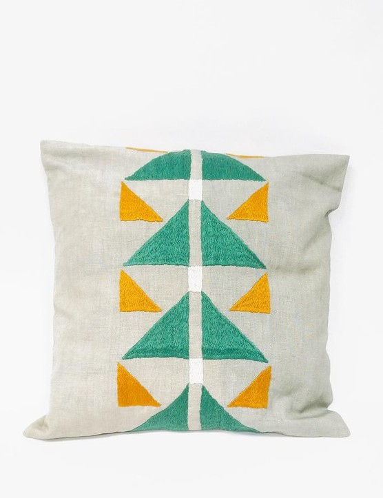 Artisan Links Square Pillow Orange green geometric design