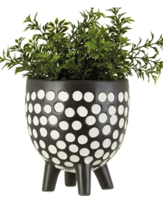 Monochrome will make greenery pop. Black and white spotted planter, £10.99, Home Luxe Co