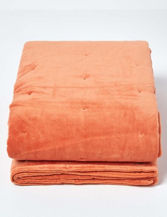 Burnt Orange Velvet Quilted Throw, £29.99, Homescapes Online