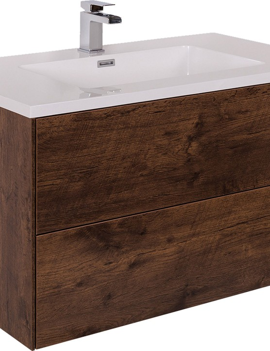 Hide away less attractive toiletries in a wall-hung vanity drawer unit and display the prettier pieces on the wide edges of the sink. Rustic Oak 900mm wall-hung vanity unit with basin, £219.97, Bathroom Takeaway