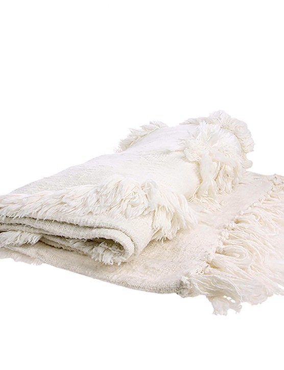 White Handwoven Fringed Throw, £49.95, Cielshopinteriors
