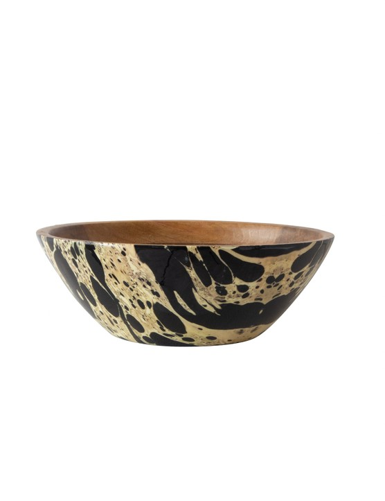 Add abstract pattern and texture with a wood bowl. Ink Mango Wood Bowl, £35, Rockett St George