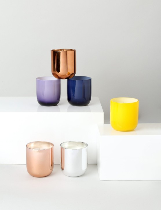 Pick a candle with a simple metallic holder for a luxe minimalist look. Jonathan Adler Bubbly Pop candle, £42, Sweetpea & Willow