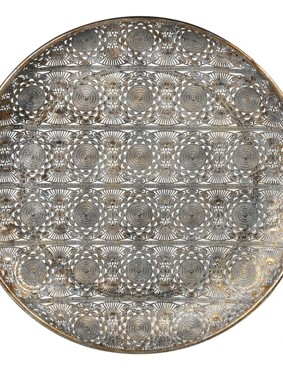 This large filigree tray will work for traditional schemes. Large round filigree tray, £49, Ella James