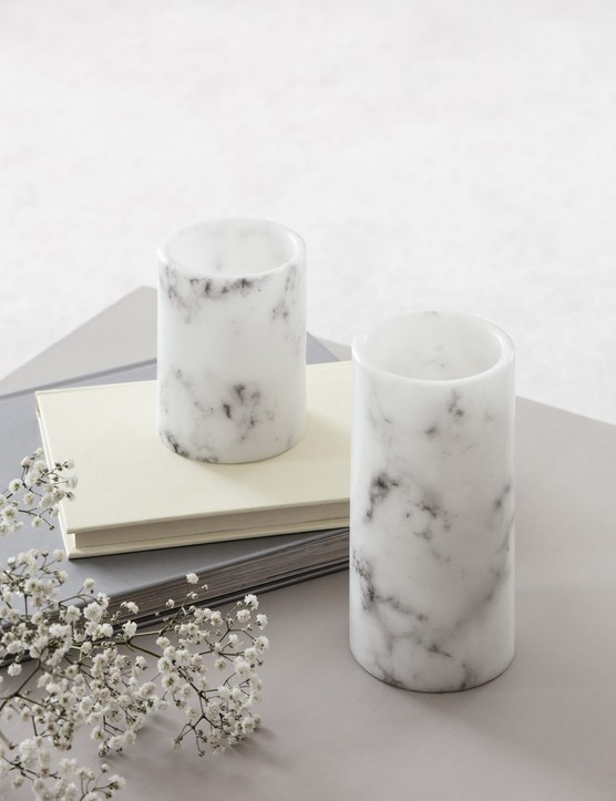 LED candles are perfect for busy households with little ones and pets. Marble LED candle duo, £9.99 for two, Lights4fun