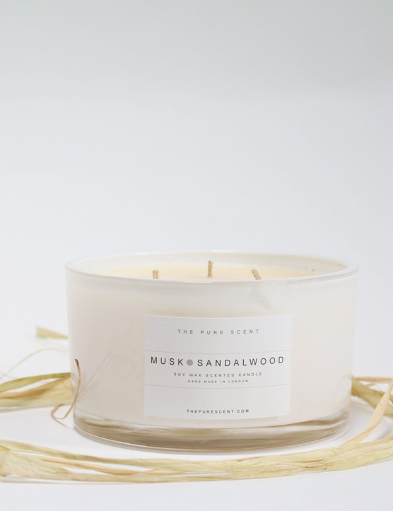 This soy wax candle combines Scandi simplicity with a delicious scent. Scented 3-wick candle in a glass, £32.50, Know