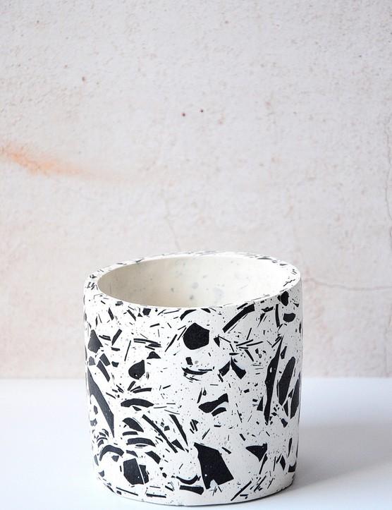 Pair this textured terrazzo design with colourful plain pots for maximum impact. Terrazzo planter, £35, Monday