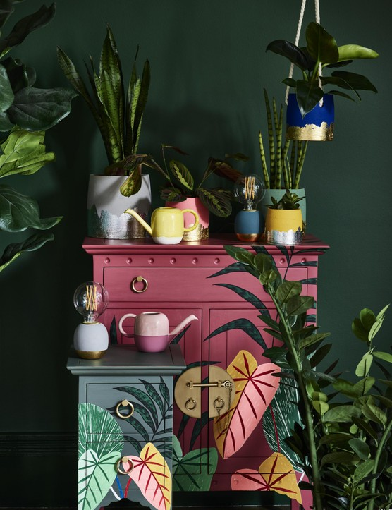Mix and match sizes and shades for an eclectic vibe. Foiled base plant pots, from £8.50, Oliver Bonas