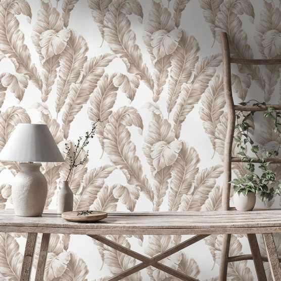 Beige leaf wallpaper