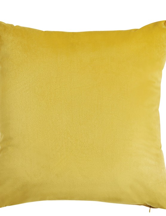 Yellow velvet cushion, £19.50, M&S