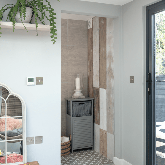 Garden room makeover: 'Vintage touches give our modern garden room character'