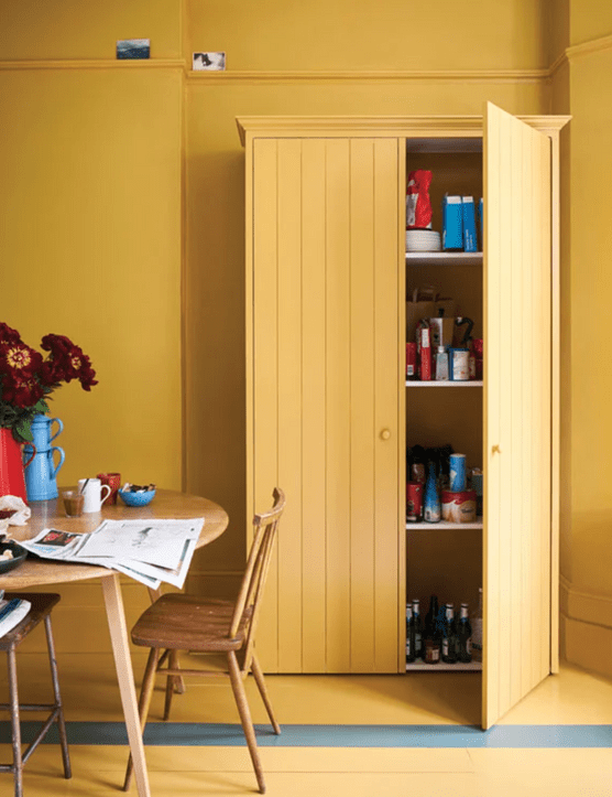 Farrow and Ball India Yellow No.66 Estate Emulsion and Down Pipe No.26 Modern Emulsion