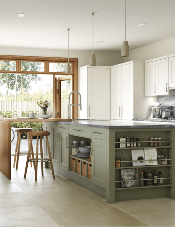Mereway Kitchens's Bridgewater kitchen from their Town and Country range, shown in Dark Sage and Prosecco