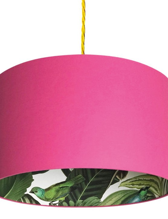 Silhouette cotton lampshade in Tropical Jungle and Watermelon, £40, Red Candy